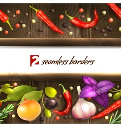 Herbs and spices border vector image