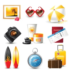 Highly detailed travelling icons set vector