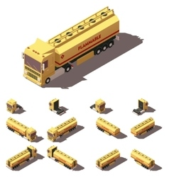 isometric truck with liquid tank semi vector image
