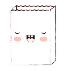 kawaii paper bag in brown blurred silhouette vector image