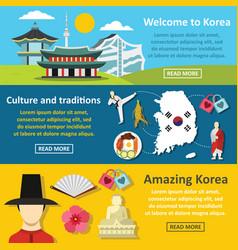 Korea symbols banner horizontal set flat style vector