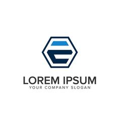 letter e hexagonal logo design concept template vector image
