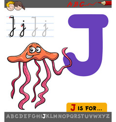Letter j with cartoon jellyfish vector