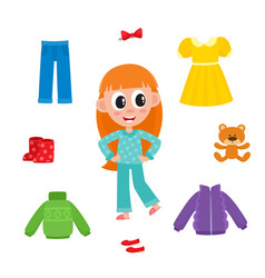 Little girl in pajamas and her wardrobe clothes vector