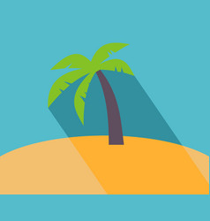 long shadow flat icon of palm tree vector image