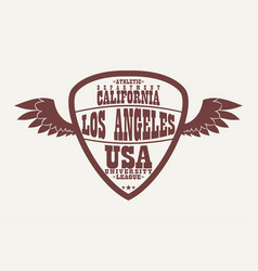 los angeles california athletic apparel logo vector image
