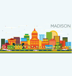 Madison skyline with color buildings and blue sky vector