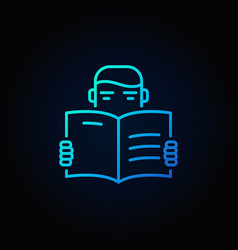 Man reading a book icon vector