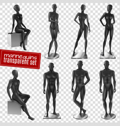 Mannequins realistic transparent background set vector