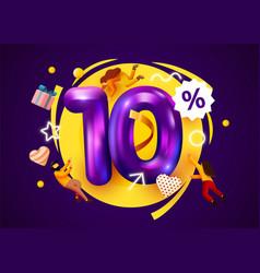 Mega sale 10 percent discount special offer vector
