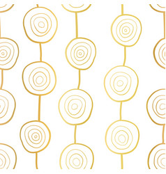 metallic golden circles along vertical lines vector image