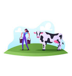 milkman profession concept female character work vector image