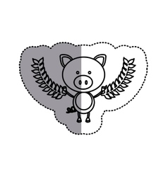 Monochrome contour sticker with pig and olive vector