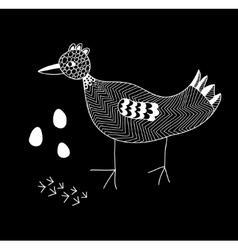 Monochrome of the cute bird vector image