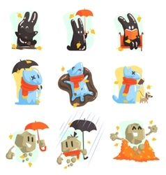 Monsters Walkng Outdoors In Autumn vector image