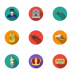 Museum set icons in flat style Big collection of vector image