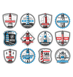 nautical lighthouse marine anchor and ship helm vector image