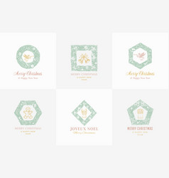 New year and christmas sketch pine wreath signs vector
