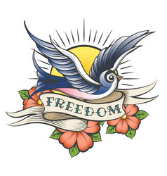 old school tattoo with bird and wording freedom vector image