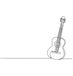 One single line drawing wooden acoustic guitar vector
