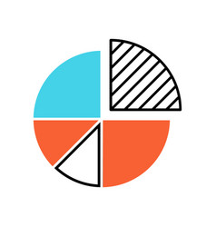 Pie chart color icon circle divided into parts vector