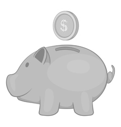 Piggy bank with coin icon black monochrome style vector image