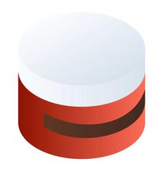 red cream box icon isometric style vector image