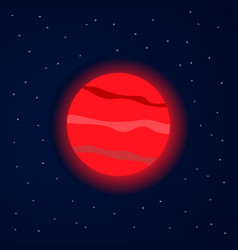 Red planet in starry space vector