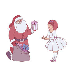 santa claus getting gift vector image