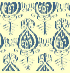 Seamless ikat pattern blue and cream vector