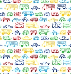 Seamless pattern of doodles cars vector image