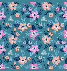 Seamless pattern with flowers and butterflies of vector