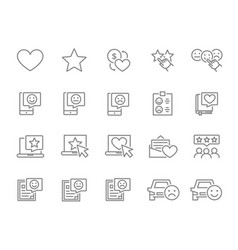 Set customer review line icons client vector
