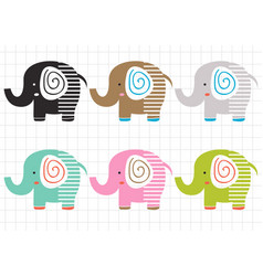 set isolated colorful elephants vector image