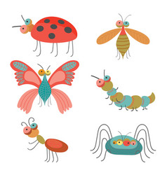 set of funny colorful bugs vector image