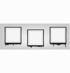 set of square black frames on white background vector image