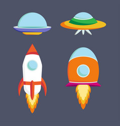 Set of ufo spaceships vector