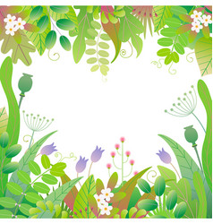 spring floral frame with green plants vector image
