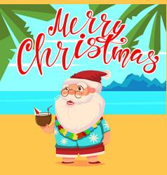 Summer santa claus in shorts on beach christmas vector