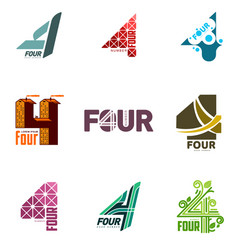 two colors graphic number four logo templates vector image
