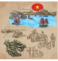 Vietnam pictures of life colored pack hand vector