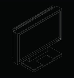 white outline a modern flat monitor in isometry vector image