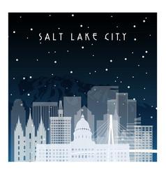 winter night in salt lake city night city vector image