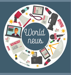 World news promotional poster with production vector