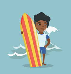 young african-american surfer holding a surfboard vector image