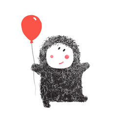 Funny hairy baby with balloon vector
