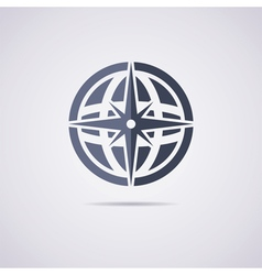 icon of earth globe and compass vector image vector image