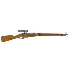old military rifle with optical sight vector image