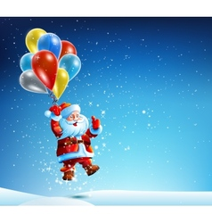 Santa Claus flies on a balloon vector image vector image