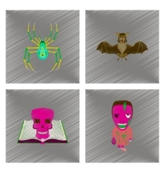 assembly flat shading style icon spider bat book vector image vector image